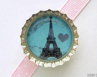 Blue Eiffel Tower Paris Bottle Cap Magnet, eiffel tower decor, french country home, french decor, paris theme party, paris magnets, kitchen