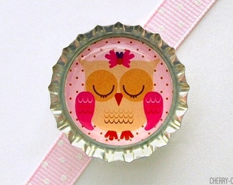 Sleepy Owl Pink Bottle Cap Magnet - owl decor, pink owl baby shower favor, owl birthday party favor, girl owl party favor, owl fridge magnet