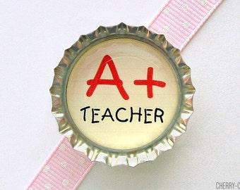 Teacher Magnet, Bottle Cap Magnet, teacher christmas gift, unique teacher gift for teachers, stocking stuffer, teacher appreciation, decor