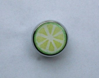 Enameled Lime Drawer Knob / Custom Cabinet Hardware