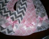 Baby Girl Bib Set, Newborn Gift, Shower Gift, Toddler, Baby Bib, Pink, Gray with Pink ,Bib, Fancy, Trendy, Elegant, Chic. Bows, Baby Bib