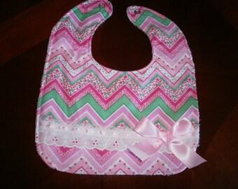 Baby Girl Bib, Newborn Gift, Shower Gift, Toddler, Baby Bib, Pink, Floral ,Bib, Fancy, Trendy, Elegant, Chic, Gift, Girl Bib, Bows, Baby Bib