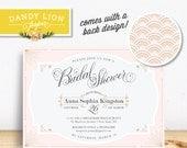 1920s Bridal Shower Invitation, Pink + Gold, Art Deco Digital Invitation - DIY Printable