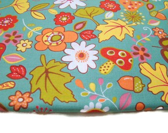 Wee Woodland by Keiki for Moda Fabrics, Turquoise Leaves, OOP HTF, FQ