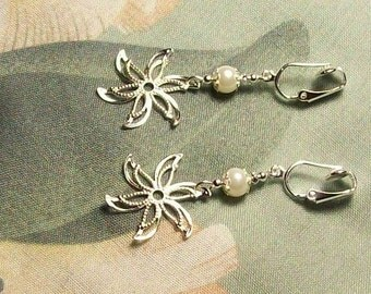 Lightweight Star Swirl Flower Pearl or Faceted Glass Silver Clip On Earrings or Pierced Your Choice of Color
