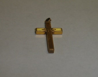 Antique Victorian Gold Filled Floral Hand Engraved Cross Pendant