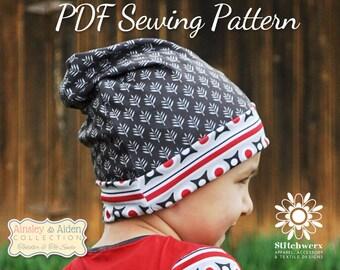 Beanie Hat Pattern, Sew Slouchy Beanie, PDF Sewing Pattern, Childs Hat Pattern, Boys Beanie Pattern, Beanie Sewing, Girls Hat Pattern