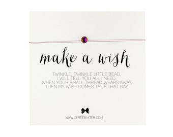 MAKE A WISH necklace crystal bead gift necklace 4 colors available