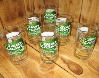 Upcycled Bud Light Lime Six Pack of glasses made from bottles