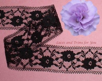 Black Lace Trim 10/20 Yards Insertion 1-1/4 inch wide Lot B01A Added Items Ship No Charge