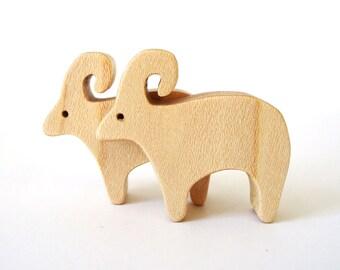 Wood Sheep Toys Waldorf Miniature Animals Noah's Ark Zoo Farm Play Set Hand Cut Scroll Saw