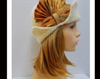 Women's Felted Cloche Hat-191 SALE Women's Felted Hat, Vintage, Accessories, Hat, Handmade, Fall-Winter, cloche felt hat, Downton abbey