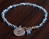 Blue Topaz Bracelet, Sterling Silver Initial Charm, Custom, Girls, Genuine Birthstone, Personalized Gemstone Jewelry