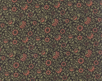 Best of Morris - Grafton in Black by Barbara Brackman for Moda Fabrics