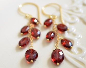 Real Garnet Earrings, Gold Filled, January Birthstone Earings, Dangle, Red Gemstone Jewelry, Free Shipping