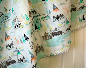 Minky Baby Blanket - Teepees and Foxes Pine - Personalization Options Available