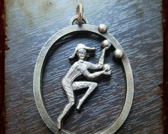 Vintage French large Harlequin medallion pendant - medal from France for Jewelry assemblage projects