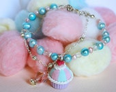 Pink/turquoise cupcake bracelet with pink and pale blue freshwater cultured pearls and czech crystal beads