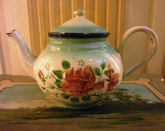 Enameled  French Japy TEA POT Hand painted ROSES & Myosotis