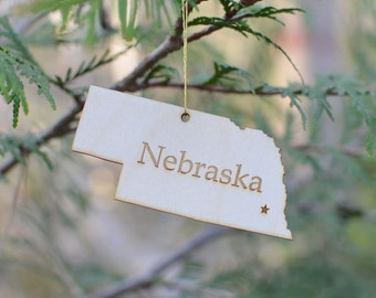 Natural Wood Nebraska State Ornament