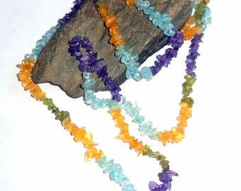 Multi Stone Long Chip Necklace Apatite Citrine Peridot Amethyst earthegy