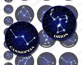 Popular Constellations 1x1 & 2x2 Circles, Midnight Blue, Black, Astrology, Digital Collage, Stars, Other, Printable, INSTANT DOWNLOAD