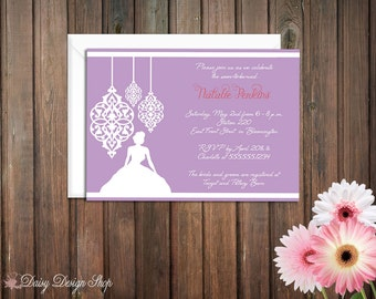 Bridal Shower Invitation - Bride Silhouette with Ornamental Flourishes