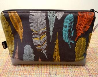 Bohemian Cosmetic Bag Feathers