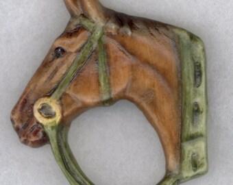 """Porcelain Horse Head Button Measures 1 5/8"""" x 1 7/8"""""""