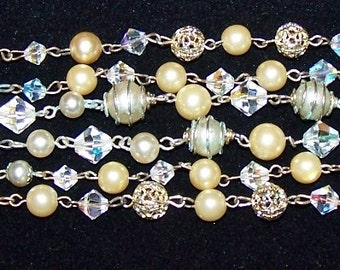 Multi Strand Glam Pearl and Crystal Bracelet