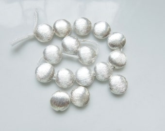 2 pcs Sterling silver  brushed, coin beads (10mm )