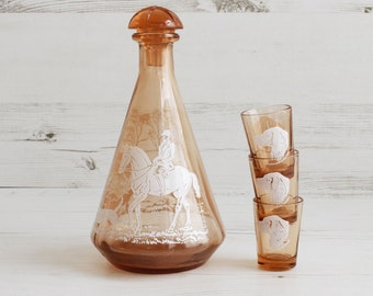 Vintage Glass Barware Decanter Shot Glasses Orange Fox Hunting Dogs Horse