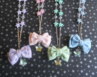 Fairy kei mini bow and stars necklace
