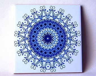 Blue filigree mandala ceramic tile, trivet, abstract floral pattern, all occasion gift symmetry kaleidoscope decorated wall tile T766