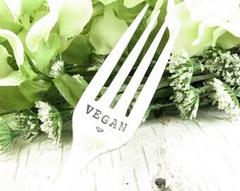Hand Stamped Fork. Vegan. Vintage Silverware Dinner Set. Personalized. Gifts Under 25. Inspirational Quote. Dazzling Dezignz. 053EDAY