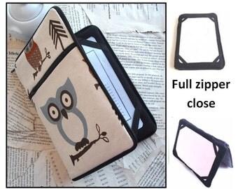 personalized HARD case - ipad case/ kindle case/ nook case/ others - full zipper close - hooty owls