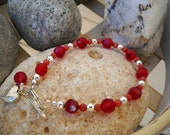 Elegant Siam Red and Sterling Silver Beaded Bracelet