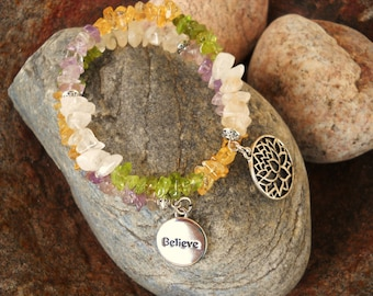 Believe and Inspire Fluorite Chips Beaded Oval Memory Wire Bracelet