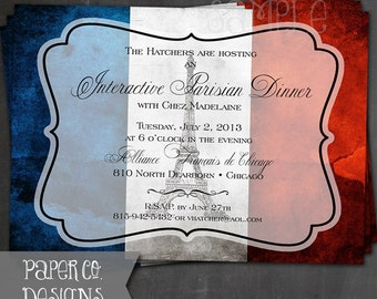 Printable French Eiffel Tower Invite - Digital File ONLY