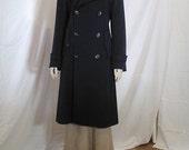 Vintage 70's Navy Blue Wool Overcoat