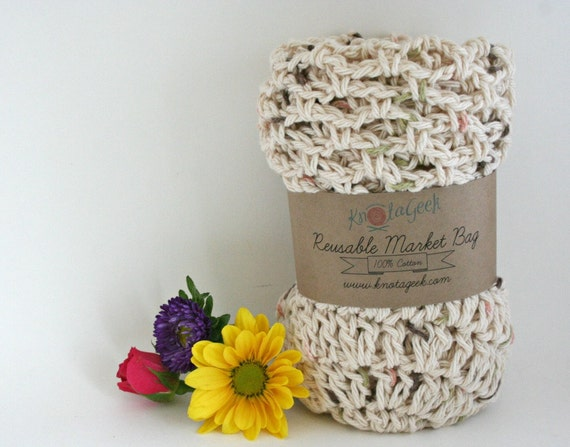 Farmers Market Bag - Reusable Cotton Grocery Tote - Tweed