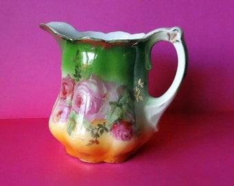 REDUCED Cream for Two, Antique Cottage Rose Creamer, Green Vintage Pitcher, Germany