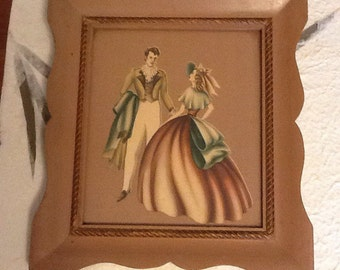 Vintage Turner Framed Picture with Old Fashioned Couple Forties