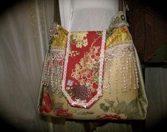 Handmade Boho Purse, large shoulder bag, handmade mixed fabric in warm earth tones, crossover body strap, gypsy bag