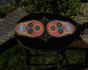 Black Wood Hand Painted Sugar Skull Stool