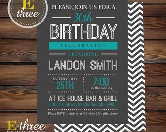 Adult Birthday Party Invitation - Teal and Gray Birthday Party Invitations - Men or Boy's Birthday Party Invite