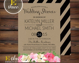 Couples Wedding Shower Invitation - Rustic Modern Black Stripes and Watercolor Flowers - Pink, Cream, Black, Kraft Paper Bridal Shower #1047