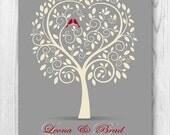 25th Silver Wedding Anniversary Tree Gift, Anniversary Gift for Parents, Gift from Grandkids,Family Tree with Love Birds,Printable JPEG,8x10
