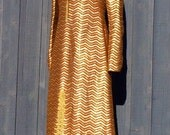 Vintage 60s Metallic GOLD and BRONZE Chevron Striped Caftan Dress XS S M