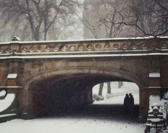 Couple in the Snow in Central Park - 8x10 Fine Art Photograph, Snow, New York City, Winter, Romantic, Wall Art